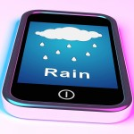 Mobile Smartphone Shows Rain Weather Forecast