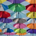 Multiple coloured umbrellas